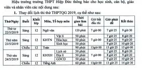 THAY ĐỔI LỊCH THI THỬ THPTQG 2019